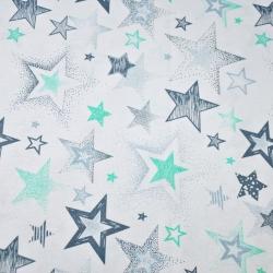 Tkanina w Gwiazdki wzorzyste szaro miętowe na białym tle