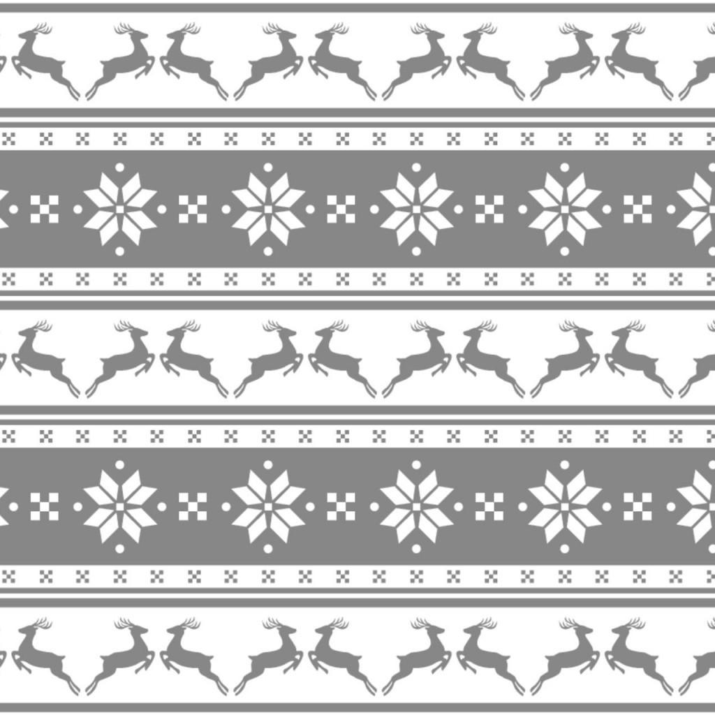Tkanina wzór świąteczny małe renifery w pasach na szarym tle