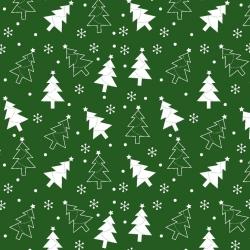 Imagén: Wzór świąteczny choinki białe na zielonym tle