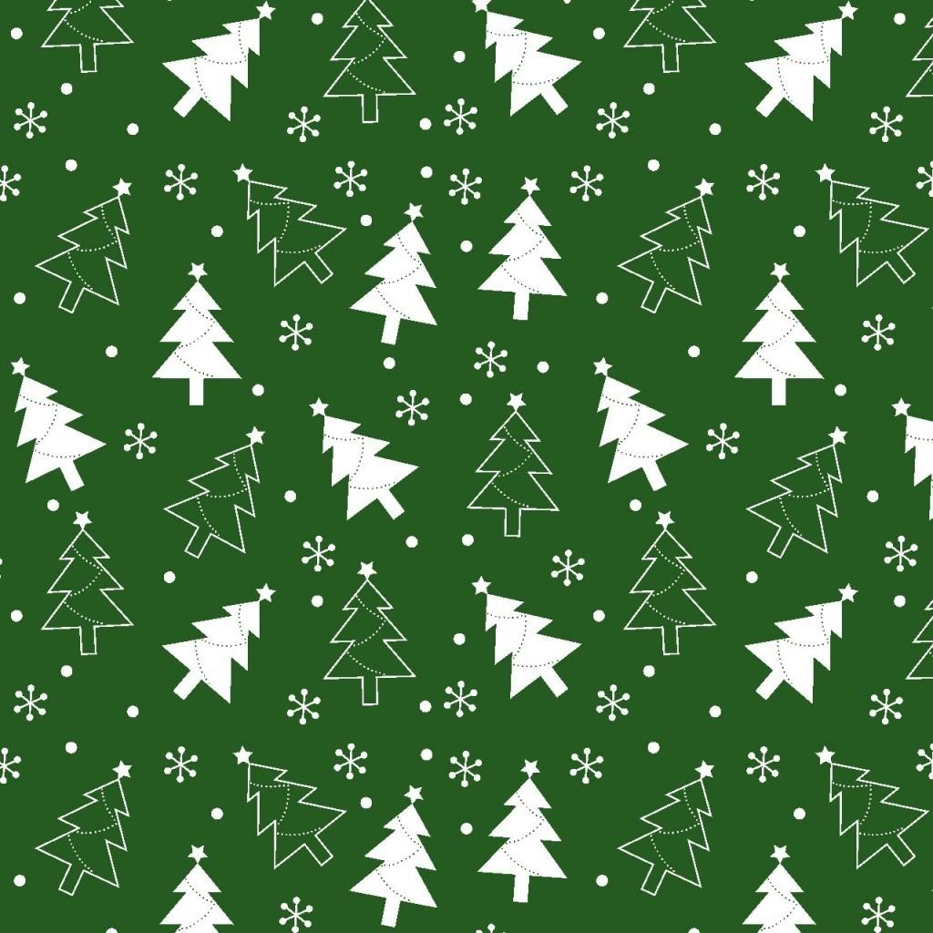 Tkanina Wzór świąteczny choinki białe na zielonym tle