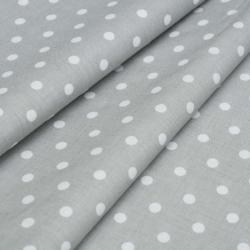 Tkanina w groszki 7mm białe na szarym tle
