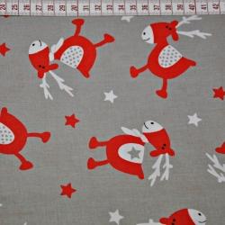 Tkanina w renifery czerwone na szarym tle