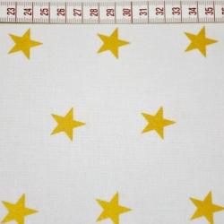 Tkanina w Gwiazdki złocone i połyskujące na białym tle