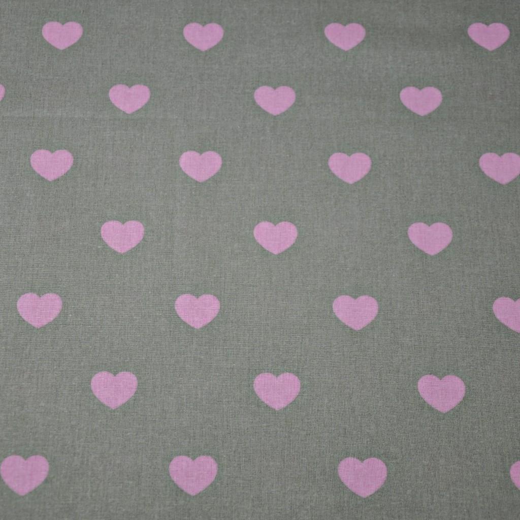 Tkanina serduszka różowe na szarym tle