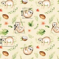 Tkanina leniwce beżowo zielone na ecrue tle