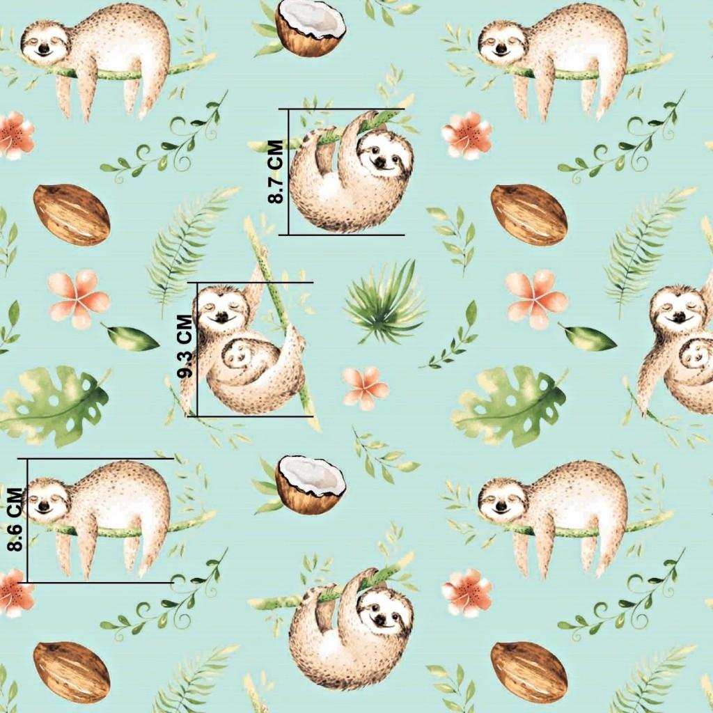 Tkanina leniwce beżowo zielone na miętowym tle