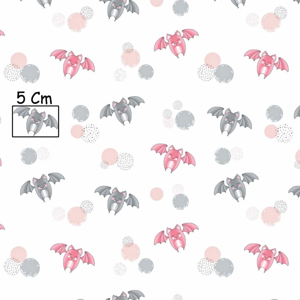 Tkanina nietoperze szaro różowe na białym tle