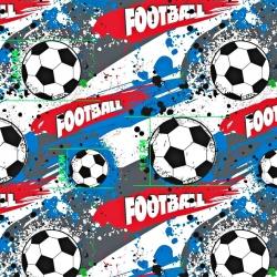 Tkanina Piłka nożna niebiesko szaro czerwona na białym tle