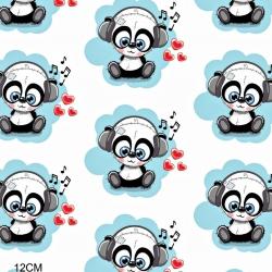 Tkanina w DJ Panda turkusowy na białym tle