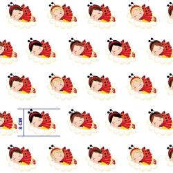 Tkanina w dziewczynki biedronki czerwone na białym tle