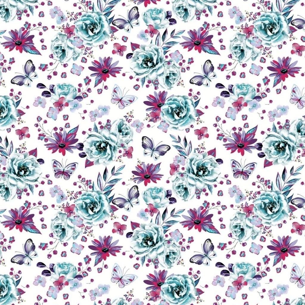 Tkanina w kwiaty z motylkami miętowo amarantowe na białym tle