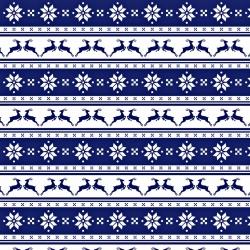 Tkanina wzór świąteczny małe renifery w pasach na granatowym tle