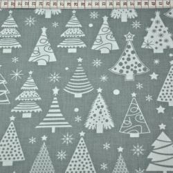 Tkanina Wzór świąteczny choinki z bombkami na szarym tle