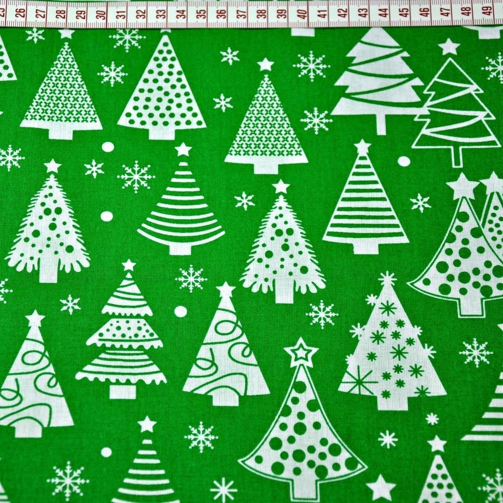 Tkanina Wzór świąteczny choinki z bombkami na zielonym tle