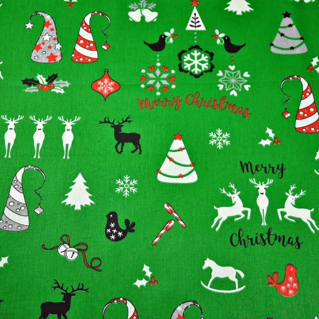 Tkanina Tkanina wzór świąteczny renifery i choinki na zielonym tle