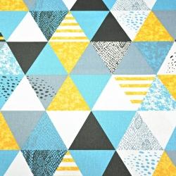 Tkanina w  trójkąty wzorzyste turkusowo pomarańczowo białe