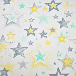 Gwiazdki wzorzyste szaro żółte na białym tle