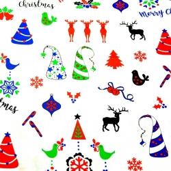Tkanina Wzór świąteczny kolorowy na białym tle