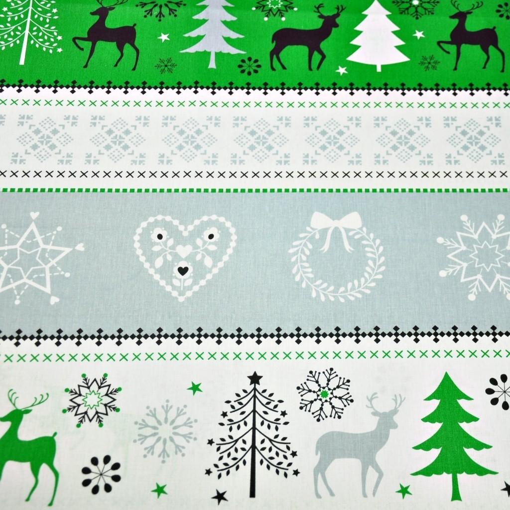 Tkanina Wzór świąteczny sweter szaro zielony na białym tle
