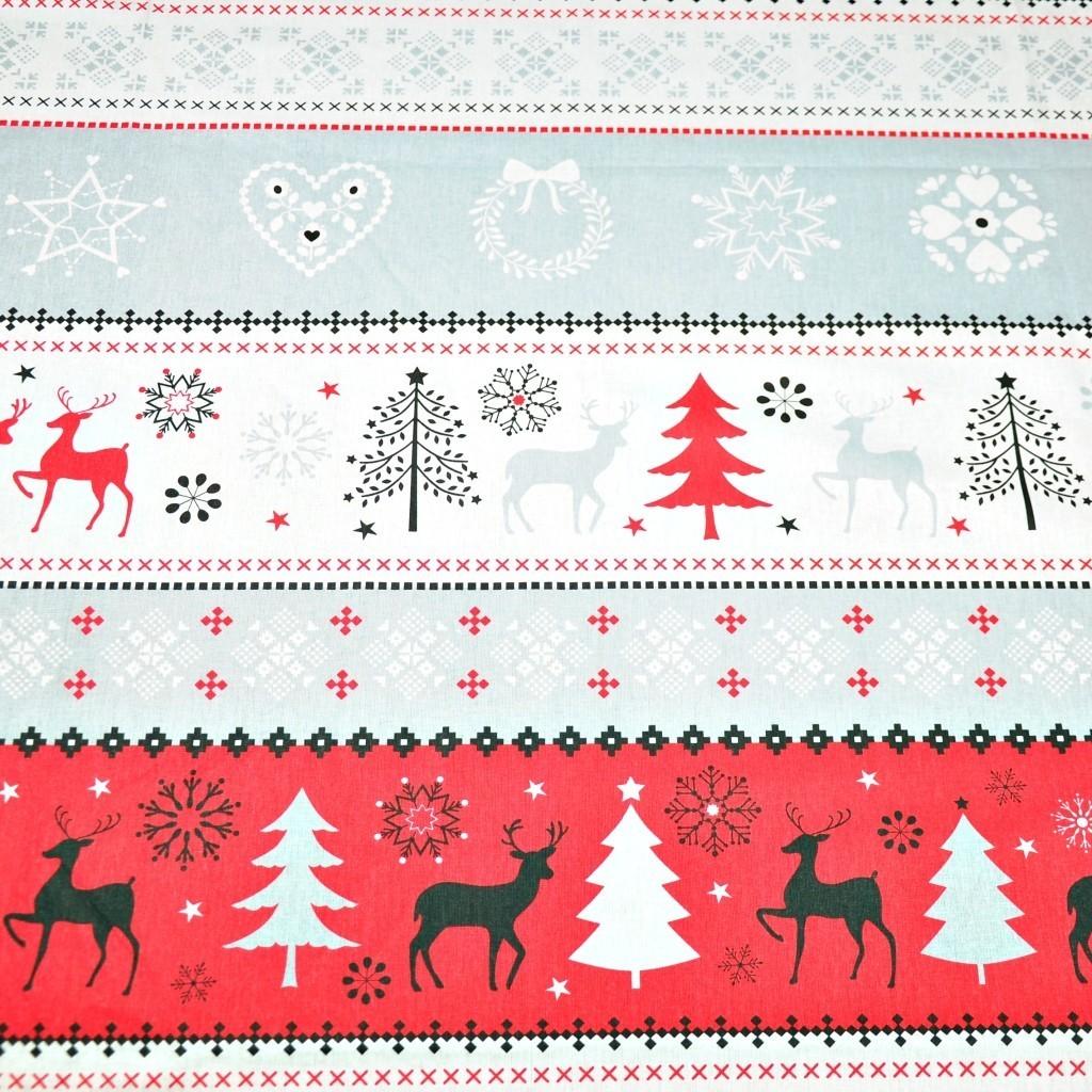 Tkanina Wzór świąteczny sweter czerwony na białym tle