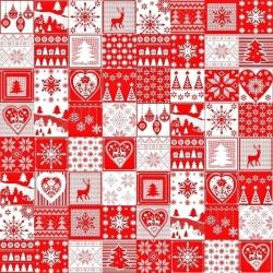 Tkanina Wzór świąteczny patchwork drobny biało czerwony