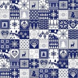 Tkanina Wzór świąteczny patchwork drobny biało granatowy