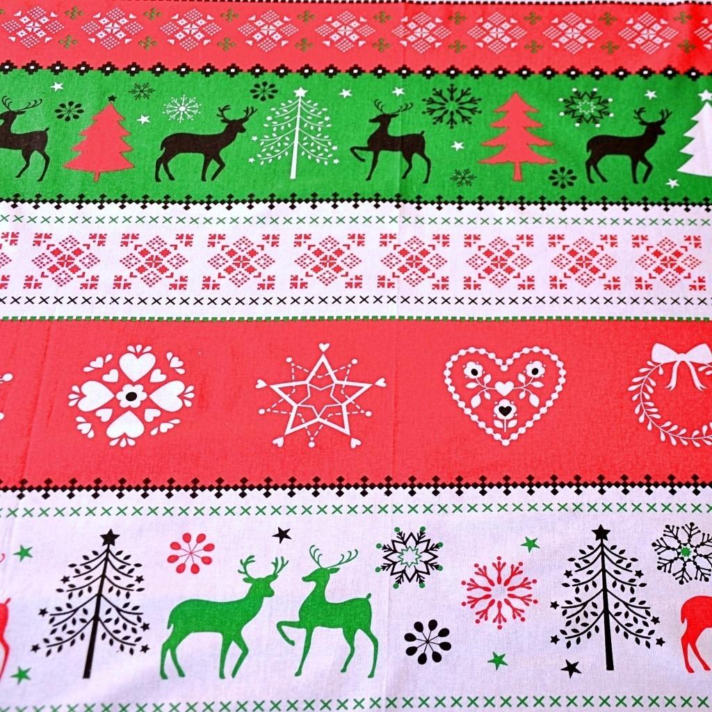 Tkanina Wzór świąteczny sweter zielono czerwony na białym tle