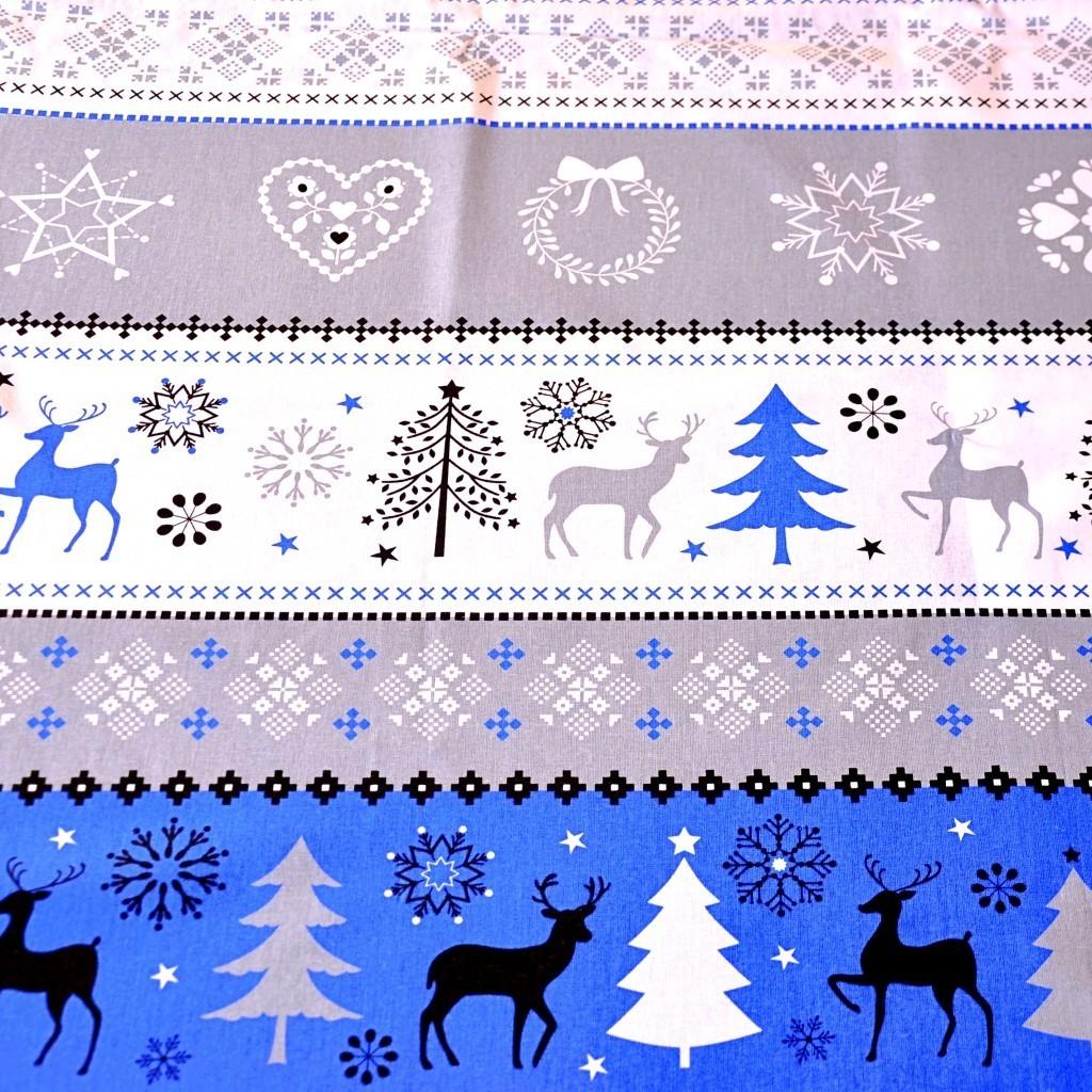 Tkanina Wzór świąteczny sweter niebiesko szary na białym tle
