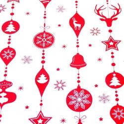 Tkanina wzór świąteczny sznur z bombek czerwone na białym tle
