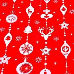 Tkanina wzór świąteczny sznur z bombek białe na czerwonym tle