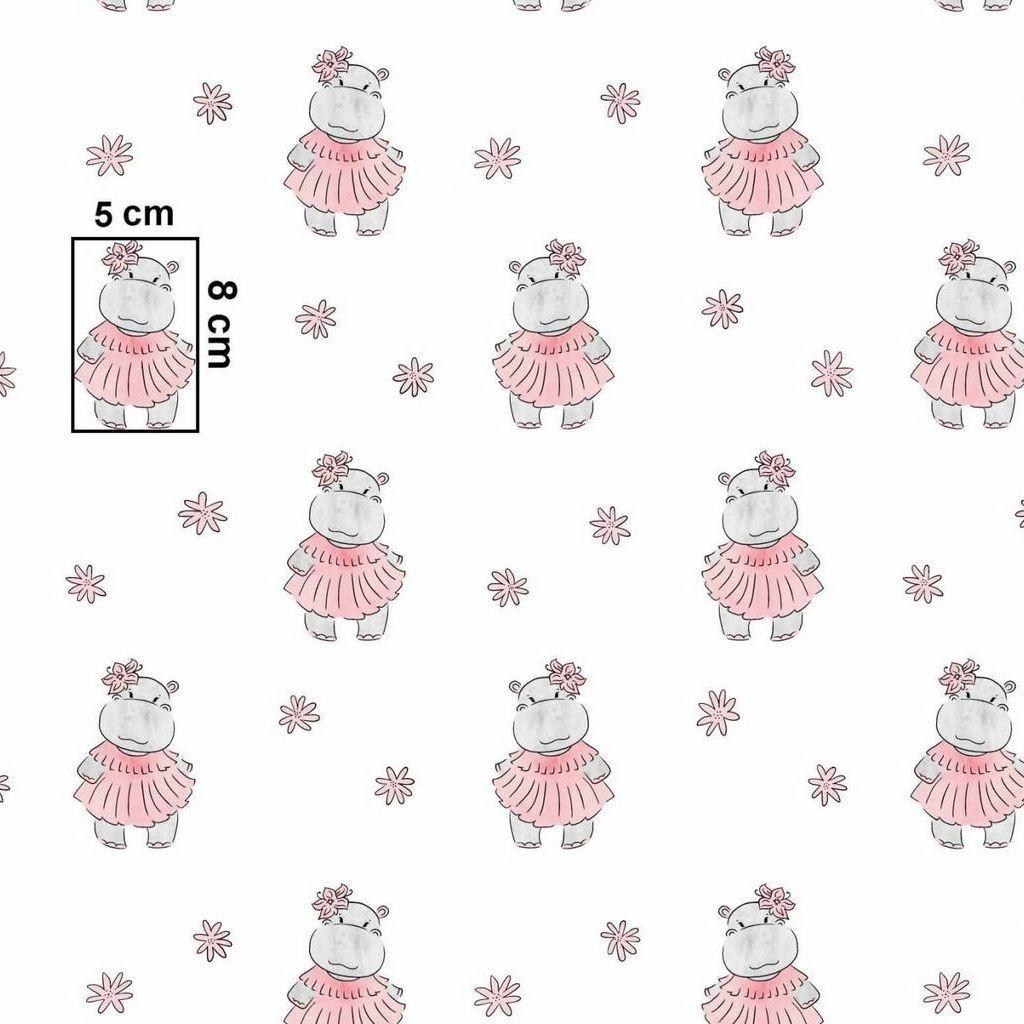 Tkanina w hipopotamy GIRL na białym tle