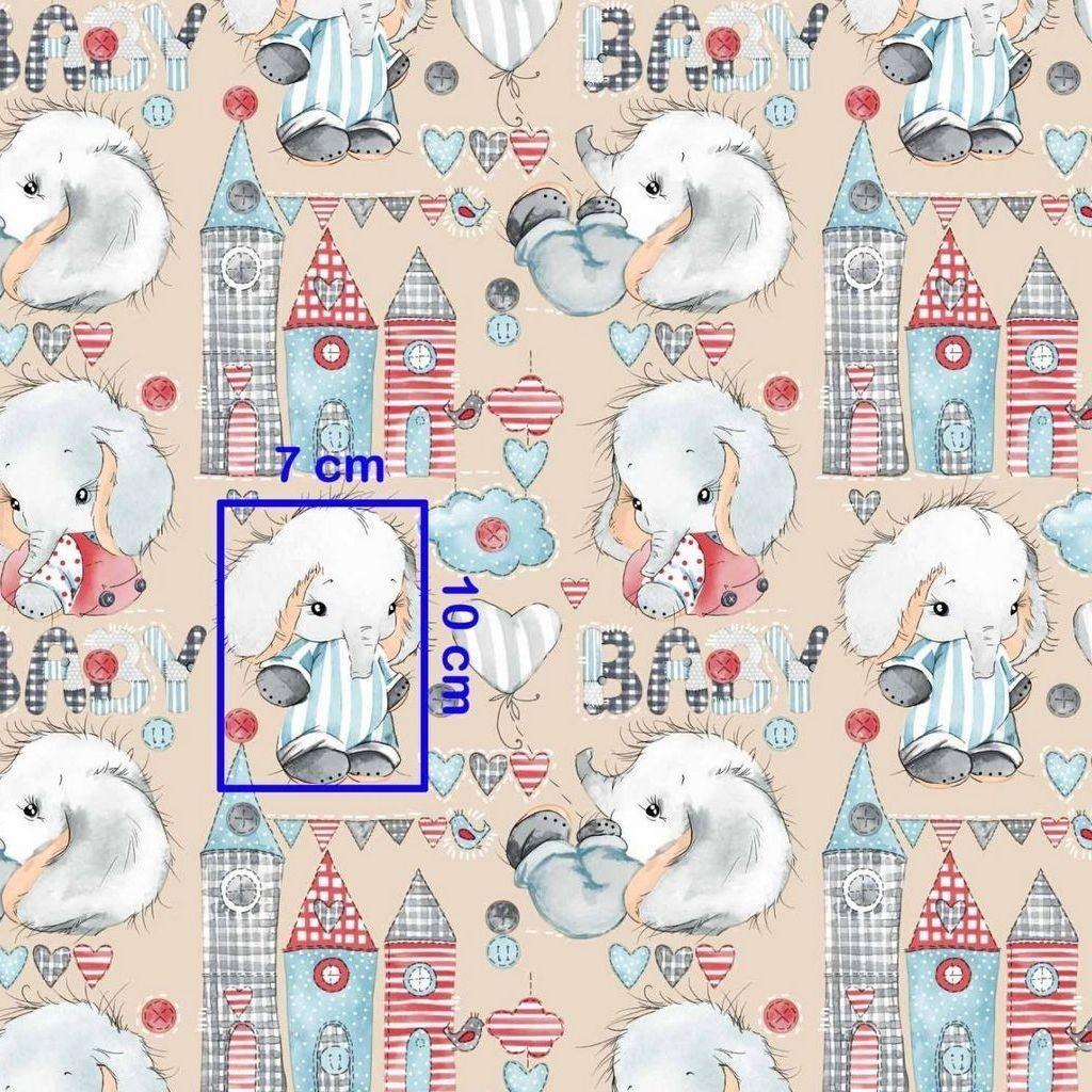 Tkanina w słoniki BABY na beżowym tle