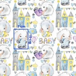 Tkanina w słoniki BABY na białym tle
