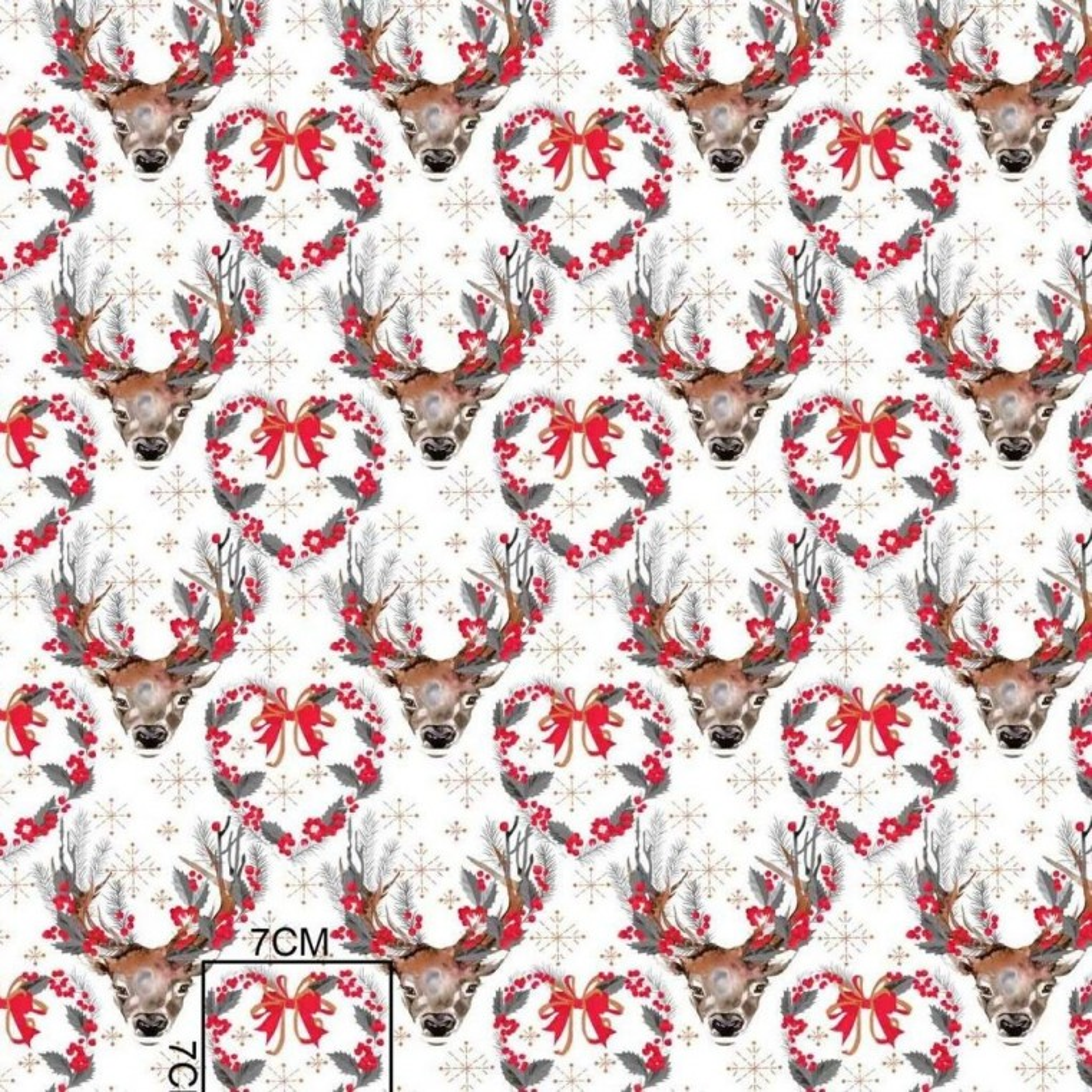 Tkanina wzór świąteczny renifery szare na białym tle
