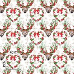 Tkanina wzór świąteczny renifery zielone na białym tle