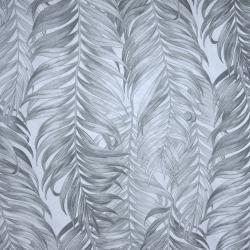 Tkanina w liście palmowe szare na białym tle