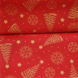 Tkanina wzór świąteczny choinki złocone i połyskujące na czerwonym tle