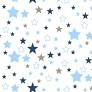 Tkanina Flanela gwiazdozbiór niebiesko granatowo szary na białym tle