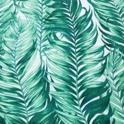 Tkanina Flanela liście palmowe zielone na białym tle