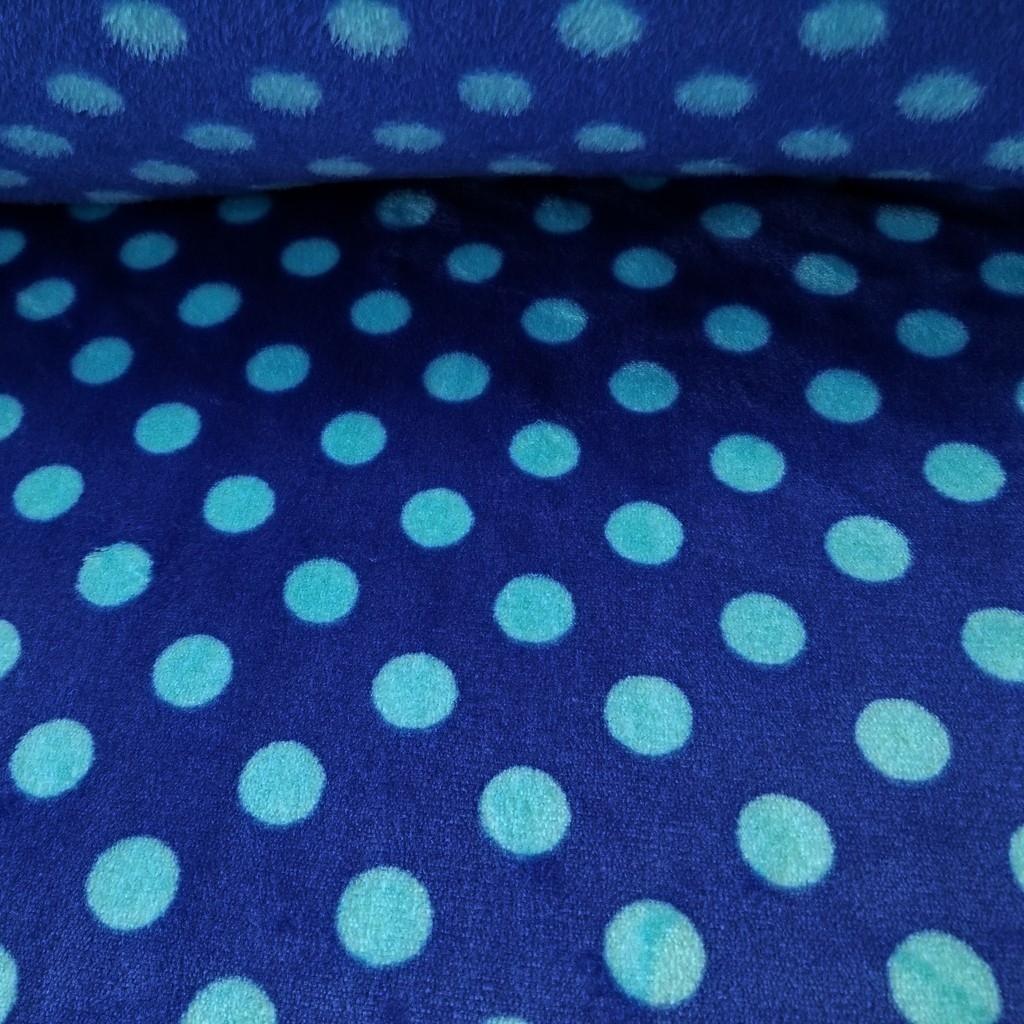 Tkanina Polar plus grochy błękitne na niebieskim tle