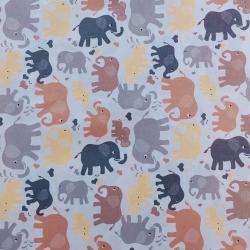 Tkanina w słonie brązowo żółte na białym tle