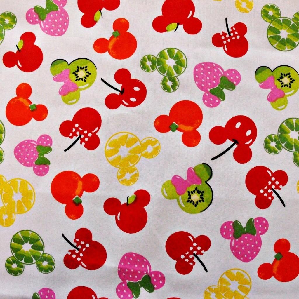 Tkanina MIKI owocowe na białym tle