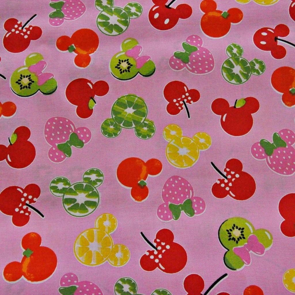 Tkanina MIKI owocowe na różowym tle