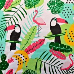 Tkanina w tukany i flamingi kolorowe na białym tle