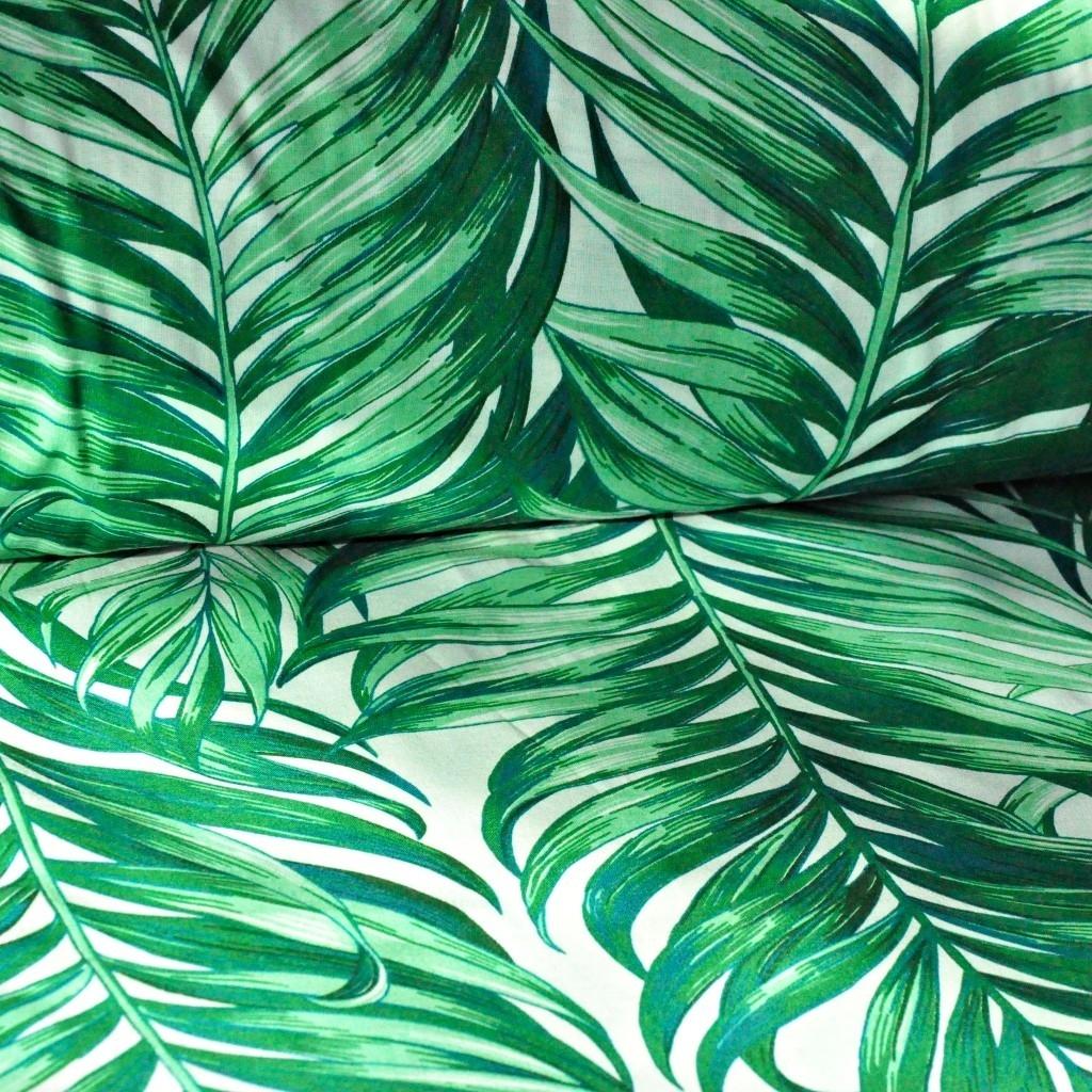 Tkanina liście palmowe zielone na białym tle