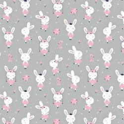 Tkanina w króliki na huśtawkach na szarym tle