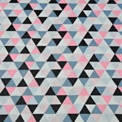 Tkanina w trójkąty małe szaro różowo czarne na białym tle