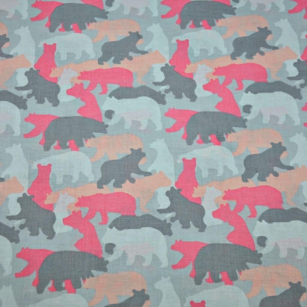 Tkanina w niedźwiedzie szaro morelowo różowe
