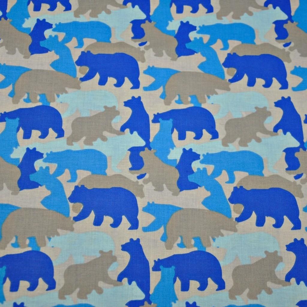Tkanina w niedźwiedzie szaro niebieskie