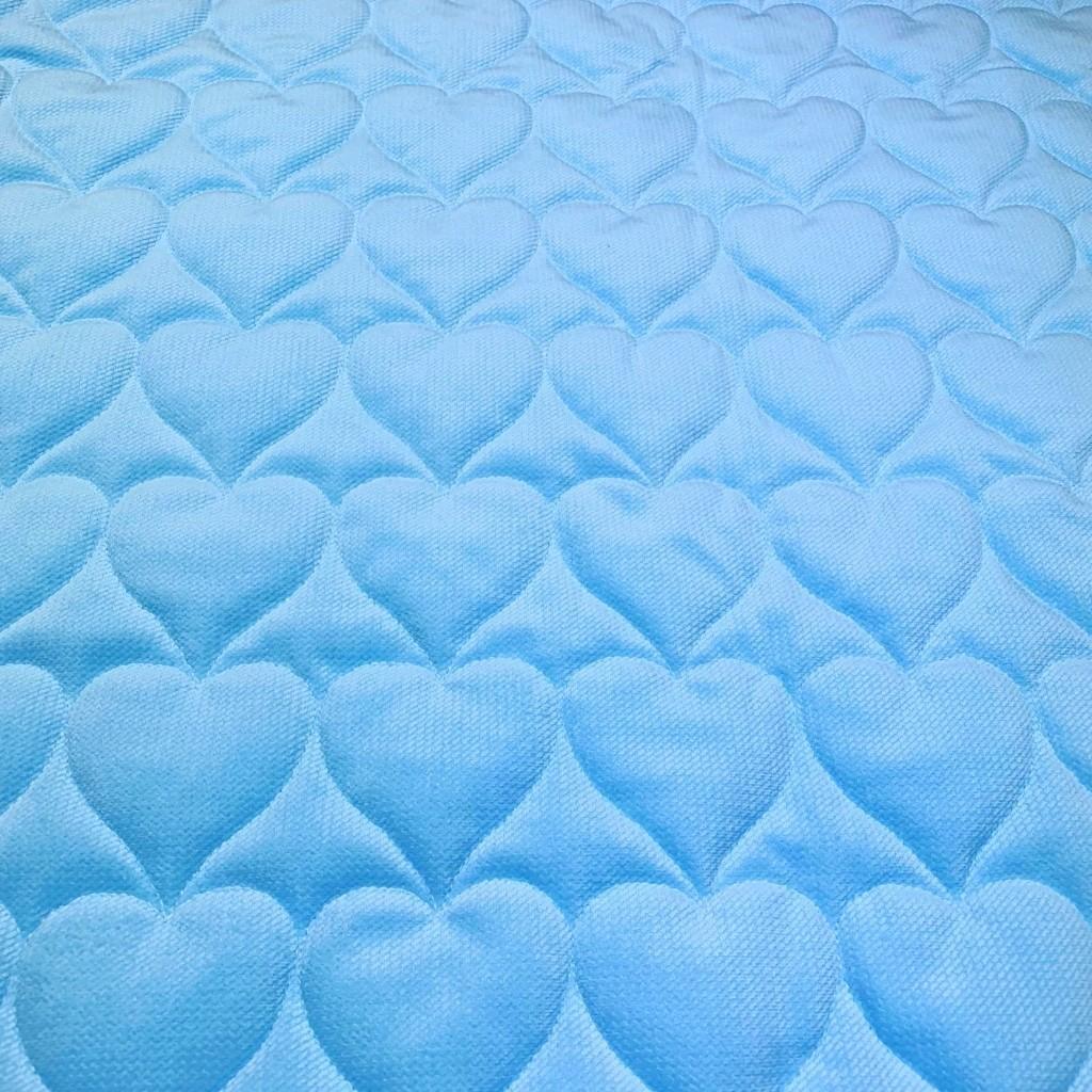 Velvet pikowany błękitny - serduszka